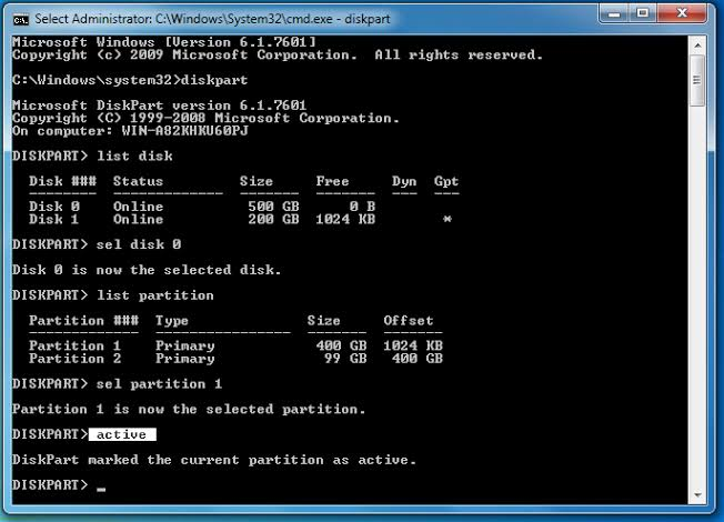 Use Diskpart and Select Primary partition as active